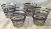 4 Vintage Culver Gold Filigree Banded Lowball Rock Glasses Green Blue 1960s