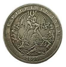 Lucifer Coin Witches Satanic Devil Occult Coin Black Magic Pattern Hobo Coin