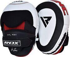 RDX Leather Boxing Hook & Jab Pads MMA Strike Shield Punching Mitts, White