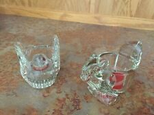 Lot of 2 Avon Glass Bird And Glass Squirrel Votive Candle Holders