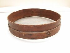 ANTIQUE PRIMITIVE AAFA BENT WOOD GRAIN SEED SIFTER LAPPED BAND 1800'S RED STAIN