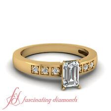 1/2 Carat Emerald Cut Untreated Diamond Square Block Style Engagement Ring GIA