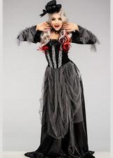 Womens Halloween Victorian Vampire Gothic Lady Fancy Dress Costume Black Velvet
