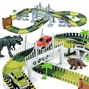 AUUGUU Kids Dinosaur Race Car Track with Flexible Track, Dino Toys, Bridge, Ramp