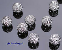 50 Eye Catching Silver Plated Filigree Round Beads 8MM