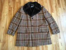 Vintage WINDBREAKER by Van Heusen Men's PLAID Coat Sz 44 Wool Blend Fur Lining