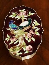 - SUPERB KOREAN 990 SILVER AND COLORED ENAMEL CLOISONNE BOX: BIRDS AND BLOSSOMS