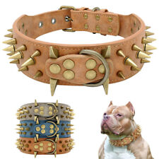 2''Wide Spiked Studded Dog Collar PU Leather Heavy Duty Adjustable for Pitbull