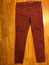 Women's Burgundy Mid Rise Denim Skinny Pants Jeans Sz 11