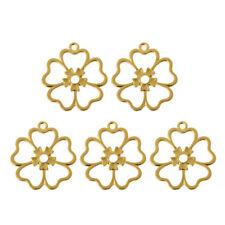 5Pcs Flower Blank Frame Pendant Resin Open Bezel Cabochon Setting Jewelry Making