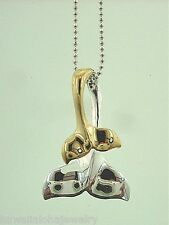 15.5mm 2T Yellow Gold Plated 925 Silver Double Hawaiian Whale Tail Fluke Pendant