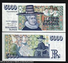 ICELAND 5000 KRONUR P53b 1961 EMBROIDERY 2 WIVES BISHOP UNC RARE CURRENCY NOTE