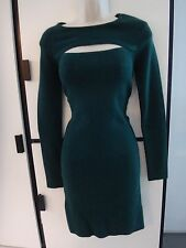 Torn by Ronny Kobo green soft stretchy sweater dress cut out chest Large NWT