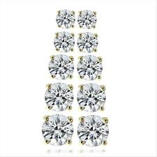 Gold Tone 5.9ct CZ Round Stud Earrings, Set of 5