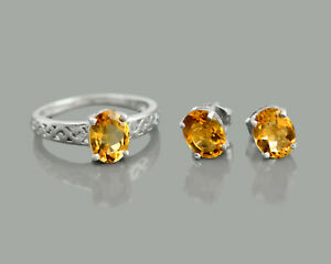 Oval Cut 925 Sterling Silver Citrine Natural Gemstone Ring Earring Jewelry Set
