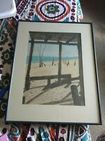 Original Watercolor Art Signed Framed Matted Painting Seaside Beach Sand Dunes