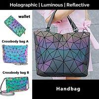 丨丨Geometric Lattice Luminous Shoulder Bag Holographic Reflective Cross-Body Bag