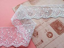 Laces Galore~Dainty White EMBROIDERED SCALLOPED TULLE LACE  Wedding/Trim/Sew