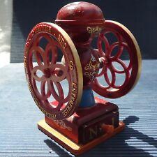 Pompe Incendie XIXème Miniature Bois Tiroir USA 12 x10 Cm Peint & Décoré Main