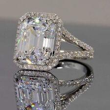 Lovely Engagement Ring 925 Sterling Silver Near White Emerald 4.48 Ct Moissanite