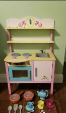 Pink Wooden Kids Kitchen Playset Toy Toddler Cooking Food Pretend Play Toys Set