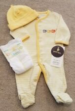 NEW PETIT LEM PREEMIE BABY 2PC YELLOW HIPPO FOOTED OUTFIT W/HAT + DIAPER