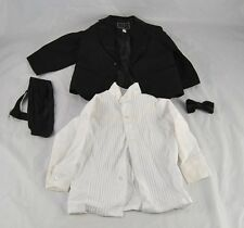 Vintage Tux Black Jacket White Shirt Cummerbund Tie Wedding Formal Sz 2T G36