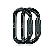 Rock Climbing Carabiner Clip - Locking and Heavy Duty 25KN - 2 pieces