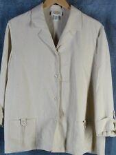 Talbots 16 Outfit 3/4 Sleeve Jacket Pants Linen Blend Stone
