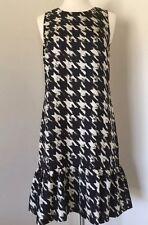 JCrew $110 flounce silk dress in wolfstooth 2P Tall ivory black f9399 NEW