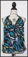 Worthington Womens Blue Green Abstract Print V Neck Sleeveless Top Size 14