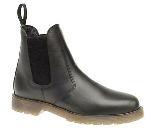 Mens Black Leather Chelsea Twin Gusset Slip On Dealer Chelsea Ankle Boots