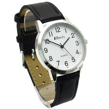 Ravel Mens Super-Clear Easy Read Quartz Watch Black Strap White Face R0132.21.1