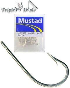 1 Box of Mustad 7766D Tarpon Fishing Hooks - Forged Duratin Fishing Hooks