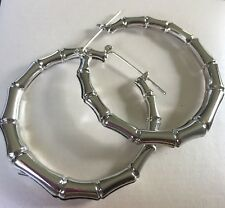 f Large 55mm x 5mm silver / white gold plated bamboo effect hoop earrings PlumUK
