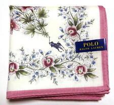 POLO Ralph Lauren Handkerchief hanky scarf bandana White Flower Cotton Auth New