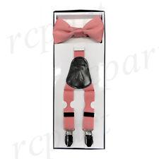 New in box Y shape formal Kid Boy's Suspenders Braces Bowtie clip on dusty pink