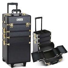Portable Case Beauty Suitcase Makeup Cosmetic Nail Bag 4 Level Wheel Black Gold