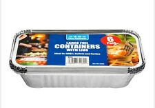 12 Pack Large Aluminium Foil Hot Food Takeaway Storage Containers with Lids New