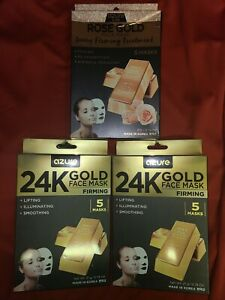 (3) Azure Lux Face Mask Firming/Two 24k Gold Maak & 1 Rose Gold Mask