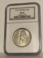 1937 Arkansas Commemorative Silver Half Dollar - NGC MS-66 - Mint State 66