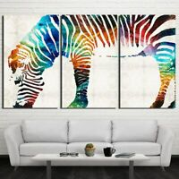 Colorful Zebra Animal 3 pcs HD Art Poster Wall Home Decor Canvas Print