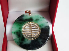 Large Green Jade Long Life Longevity Solid 14k Yellow Gold Pendant --Great Gift!