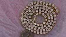 """31 Ct Real Si1 diamond tennis chain necklace 14k yellow gold Celebrity Style 20"""""""