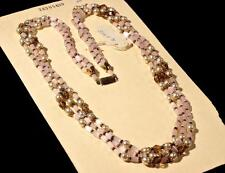"Vintage 26"" 3 strand necklace satin atlas faux pearl smoky Czech glass beads"