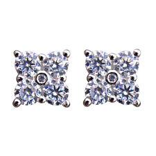 Diamond-Unique Square Cluster Solid Silver Rhodium Platinum Stud Earrings 50798
