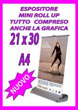 ESPOSITORE MINI ROLL UP 21X30  - A4 - COMPRESO STAMPA COMPRESO GRAFICA