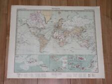 1932 ORIGINAL VINTAGE MAP OF THE WORLD AMERICA ASIA AFRICA EUROPE CANARY ISLANDS