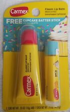 Carmex Classic tube of Medicated lip balm PLUS a tube of CUPCAKE BATTER flavored