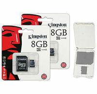 Lot of 2 Kingston 8GB Micro SD SDHC Class 4 microSD Flash Memory Card + CASE